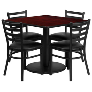 36'' Square Mahogany Laminate Table Set with 4 Ladder Back Metal Chairs - Black Vinyl Seat