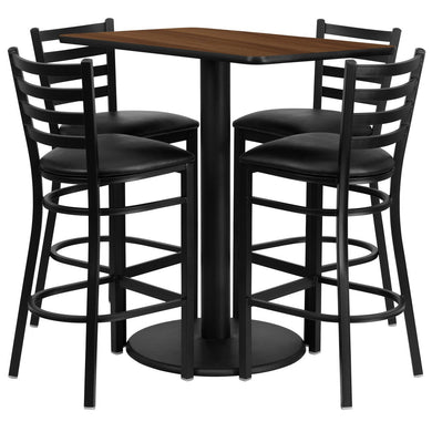 24'' x 42'' Rectangular Walnut Laminate Table Set with 4 Ladder Back Metal Barstools - Black Vinyl Seat