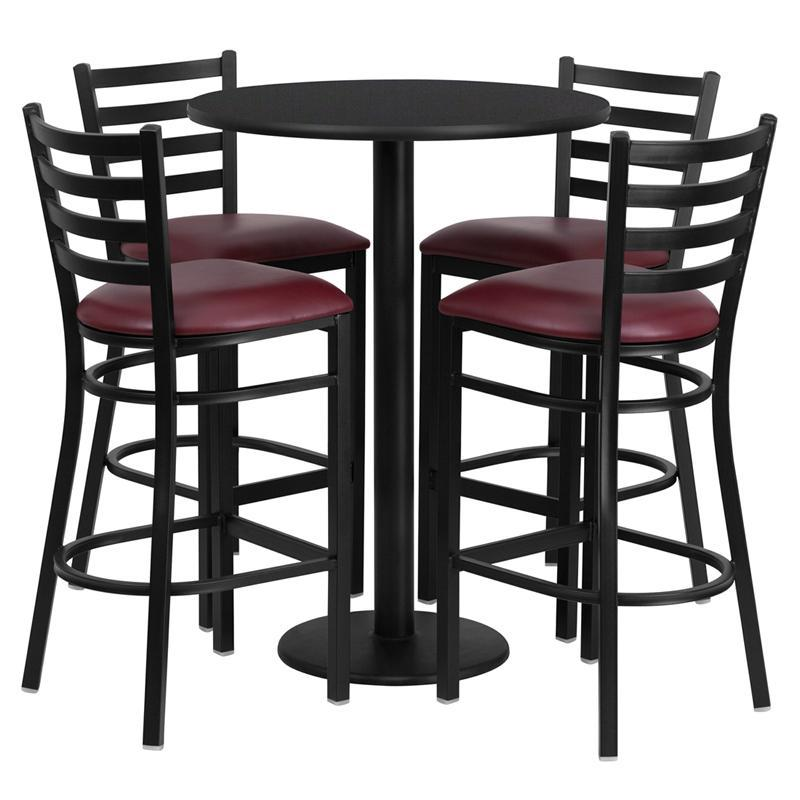30'' Round Black Laminate Table Set with Round Base and 4 Ladder Back Metal Barstools - Burgundy Vinyl Seat