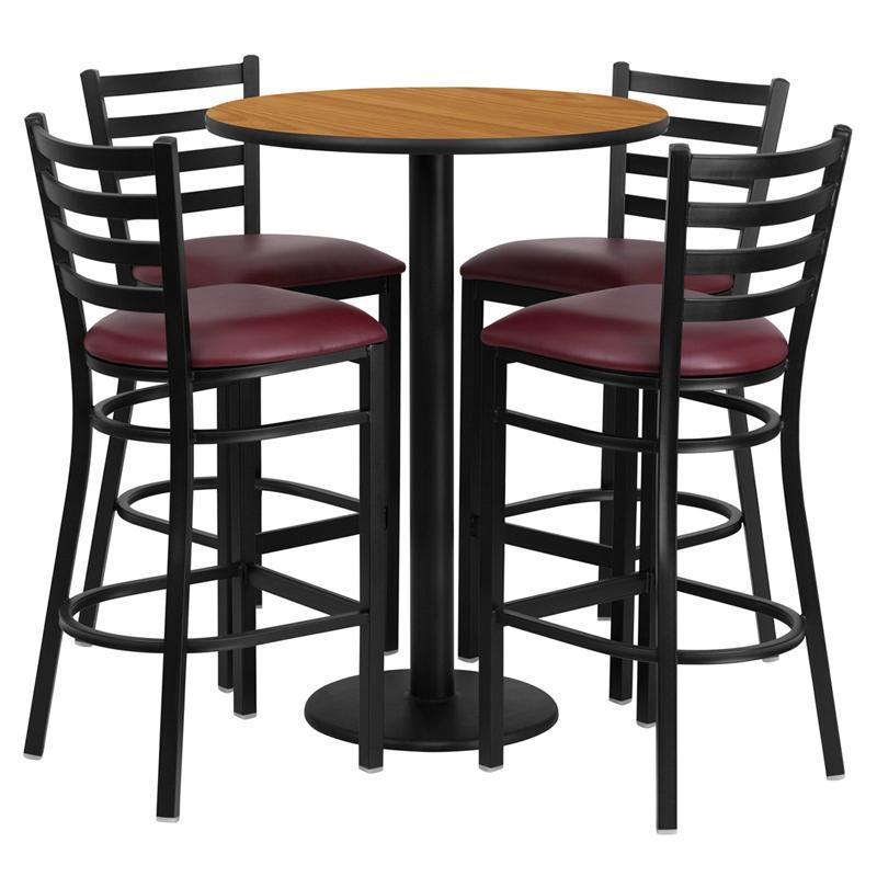 30'' Round Natural Laminate Table Set with Round Base and 4 Ladder Back Metal Barstools - Burgundy Vinyl Seat