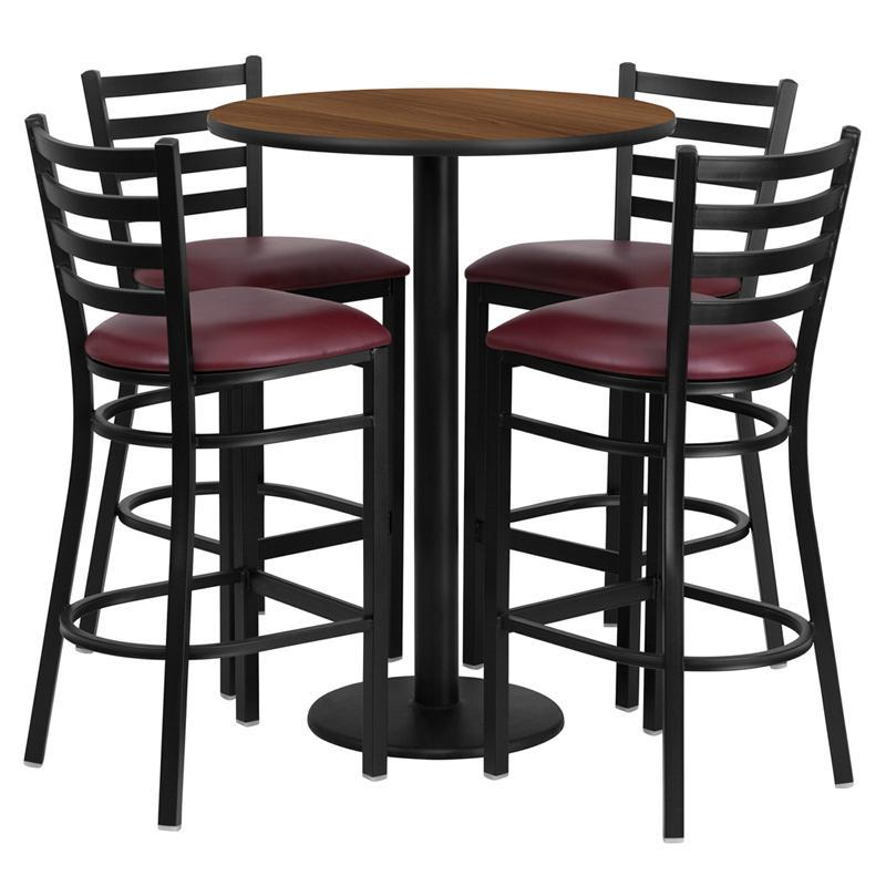 30'' Round Walnut Laminate Table Set with Round Base and 4 Ladder Back Metal Barstools - Burgundy Vinyl Seat