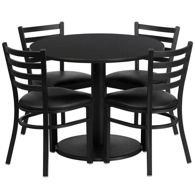 36'' Round Black Laminate Table Set with Round Base and 4 Ladder Back Metal Chairs - Black Vinyl Seat