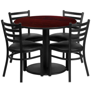 36'' Round Mahogany Laminate Table Set with Round Base and 4 Ladder Back Metal Chairs - Black Vinyl Seat