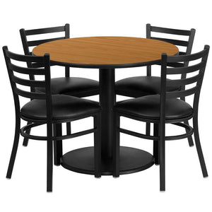 36'' Round Natural Laminate Table Set with Round Base and 4 Ladder Back Metal Chairs - Black Vinyl Seat