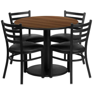 36'' Round Walnut Laminate Table Set with Round Base and 4 Ladder Back Metal Chairs - Black Vinyl Seat