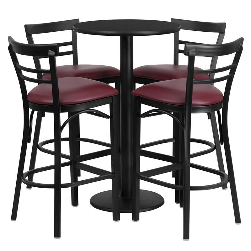 24'' Round Black Laminate Table Set with Round Base and 4 Two-Slat Ladder Back Metal Barstools - Burgundy Vinyl Seat
