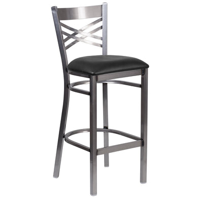 HERCULES Series Clear Coated ''X'' Back Metal Restaurant Barstool - Black Vinyl Seat