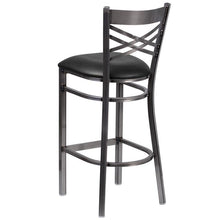 Load image into Gallery viewer, HERCULES Series Clear Coated ''X'' Back Metal Restaurant Barstool - Black Vinyl Seat
