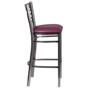 HERCULES Series Clear Coated ''X'' Back Metal Restaurant Barstool - Burgundy Vinyl Seat