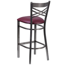 Load image into Gallery viewer, HERCULES Series Clear Coated ''X'' Back Metal Restaurant Barstool - Burgundy Vinyl Seat