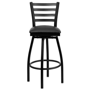 HERCULES Series Black Ladder Back Swivel Metal Barstool - Black Vinyl Seat