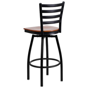 HERCULES Series Black Ladder Back Swivel Metal Barstool - Cherry Wood Seat
