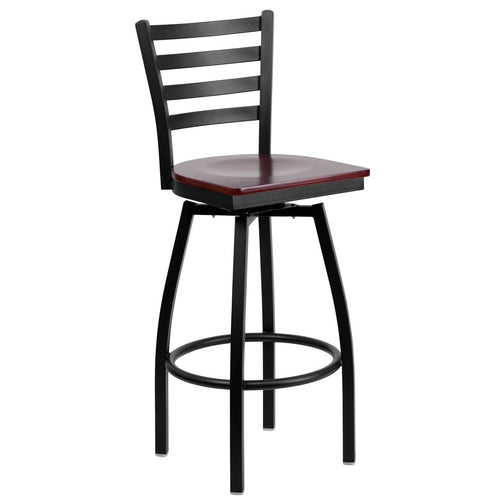 HERCULES Series Black Ladder Back Swivel Metal Barstool - Mahogany Wood Seat