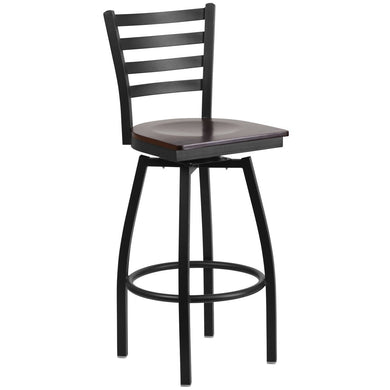 HERCULES Series Black Ladder Back Swivel Metal Barstool - Walnut Wood Seat