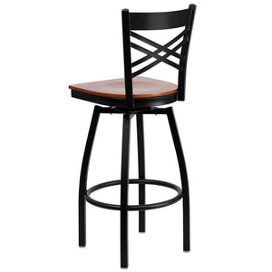 HERCULES Series Black ''X'' Back Swivel Metal Barstool - Cherry Wood Seat