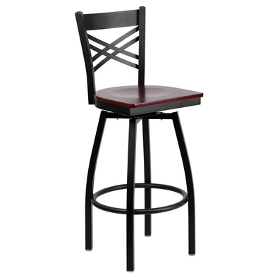 HERCULES Series Black ''X'' Back Swivel Metal Barstool - Mahogany Wood Seat