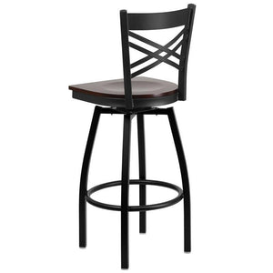 HERCULES Series Black ''X'' Back Swivel Metal Barstool - Walnut Wood Seat