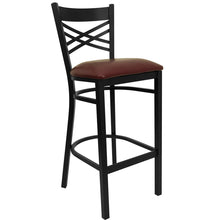 Load image into Gallery viewer, HERCULES Series Black ''X'' Back Metal Restaurant Barstool - Burgundy Vinyl Seat