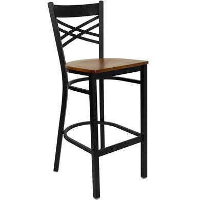HERCULES Series Black ''X'' Back Metal Restaurant Barstool - Cherry Wood Seat