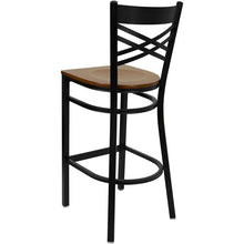 Load image into Gallery viewer, HERCULES Series Black ''X'' Back Metal Restaurant Barstool - Cherry Wood Seat