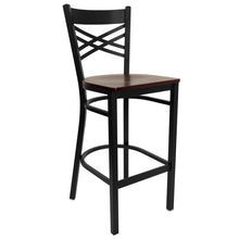 Load image into Gallery viewer, HERCULES Series Black ''X'' Back Metal Restaurant Barstool - Mahogany Wood Seat