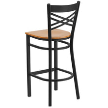 Load image into Gallery viewer, HERCULES Series Black ''X'' Back Metal Restaurant Barstool - Natural Wood Seat
