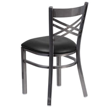 Load image into Gallery viewer, HERCULES Series Clear Coated ''X'' Back Metal Restaurant Chair - Black Vinyl Seat