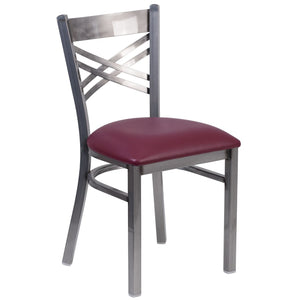 HERCULES Series Clear Coated ''X'' Back Metal Restaurant Chair - Burgundy Vinyl Seat