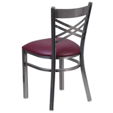 Load image into Gallery viewer, HERCULES Series Clear Coated ''X'' Back Metal Restaurant Chair - Burgundy Vinyl Seat