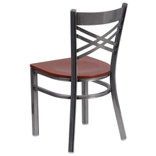 Load image into Gallery viewer, HERCULES Series Clear Coated ''X'' Back Metal Restaurant Chair - Cherry Wood Seat