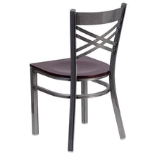 Load image into Gallery viewer, HERCULES Series Clear Coated ''X'' Back Metal Restaurant Chair - Mahogany Wood Seat