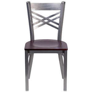 HERCULES Series Clear Coated ''X'' Back Metal Restaurant Chair - Mahogany Wood Seat