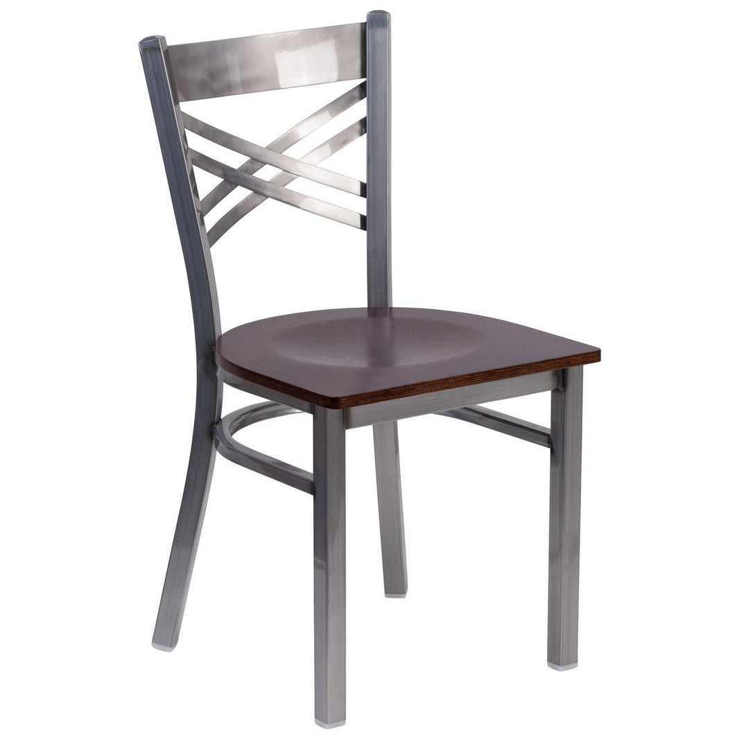 HERCULES Series Clear Coated ''X'' Back Metal Restaurant Chair - Walnut Wood Seat