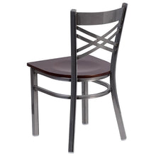Load image into Gallery viewer, HERCULES Series Clear Coated ''X'' Back Metal Restaurant Chair - Walnut Wood Seat
