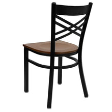 Load image into Gallery viewer, HERCULES Series Black ''X'' Back Metal Restaurant Chair - Cherry Wood Seat