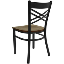 Load image into Gallery viewer, HERCULES Series Black ''X'' Back Metal Restaurant Chair - Mahogany Wood Seat