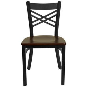 HERCULES Series Black ''X'' Back Metal Restaurant Chair - Mahogany Wood Seat