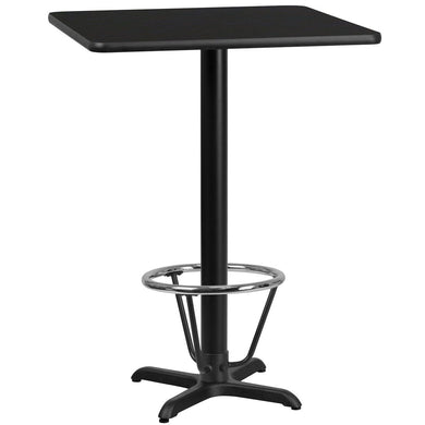 24'' Square Black Laminate Table Top with 22'' x 22'' Bar Height Table Base and Foot Ring