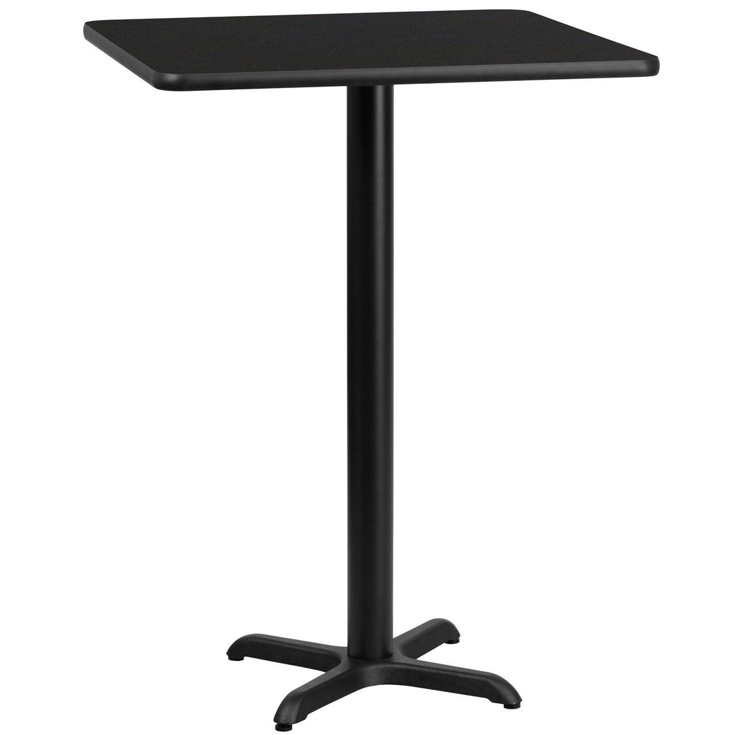 24'' Square Black Laminate Table Top with 22'' x 22'' Bar Height Table Base