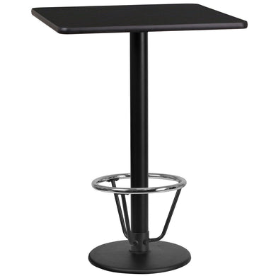 24'' Square Black Laminate Table Top with 18'' Round Bar Height Table Base and Foot Ring
