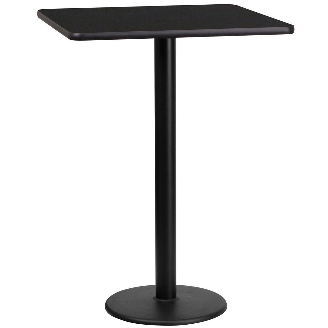 24'' Square Black Laminate Table Top with 18'' Round Bar Height Table Base