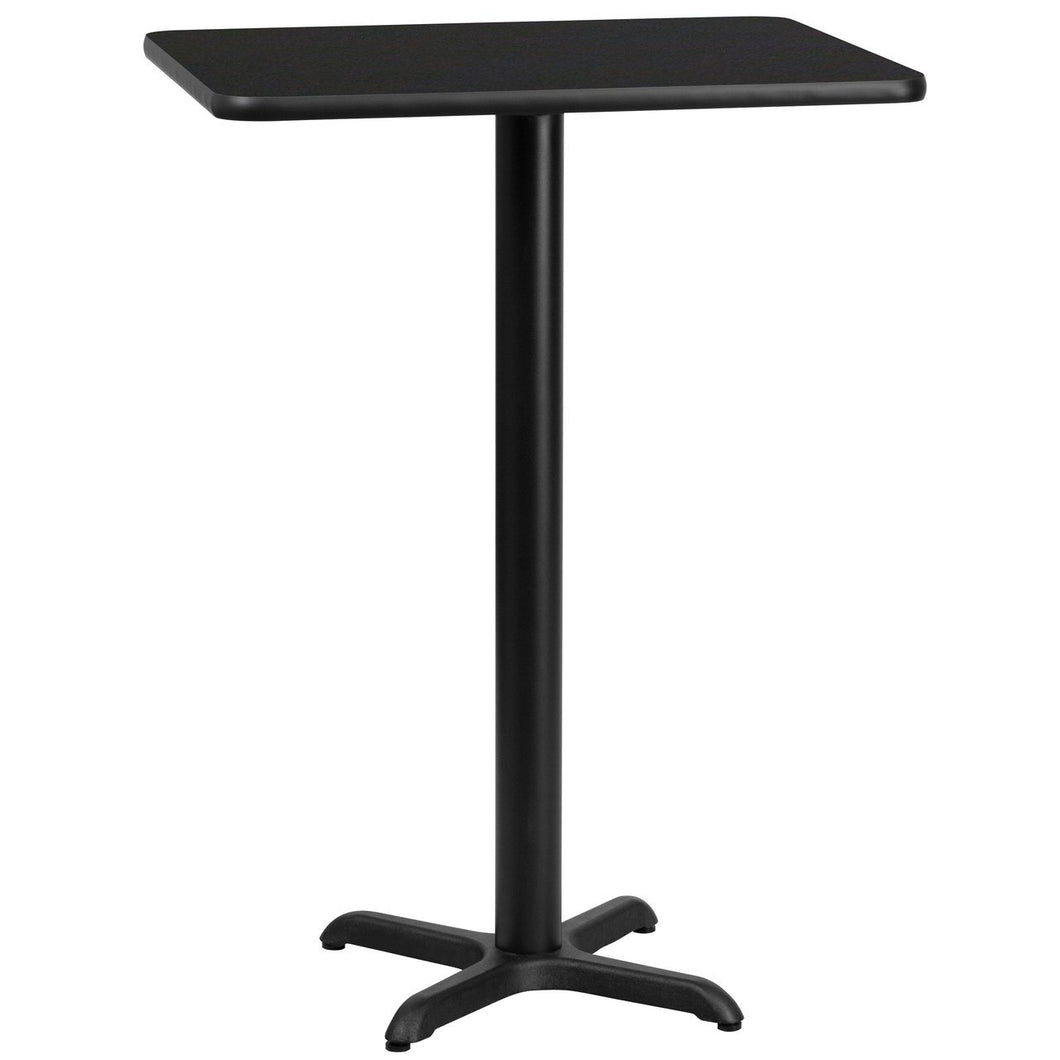 24'' x 30'' Rectangular Black Laminate Table Top with 22'' x 22'' Bar Height Table Base