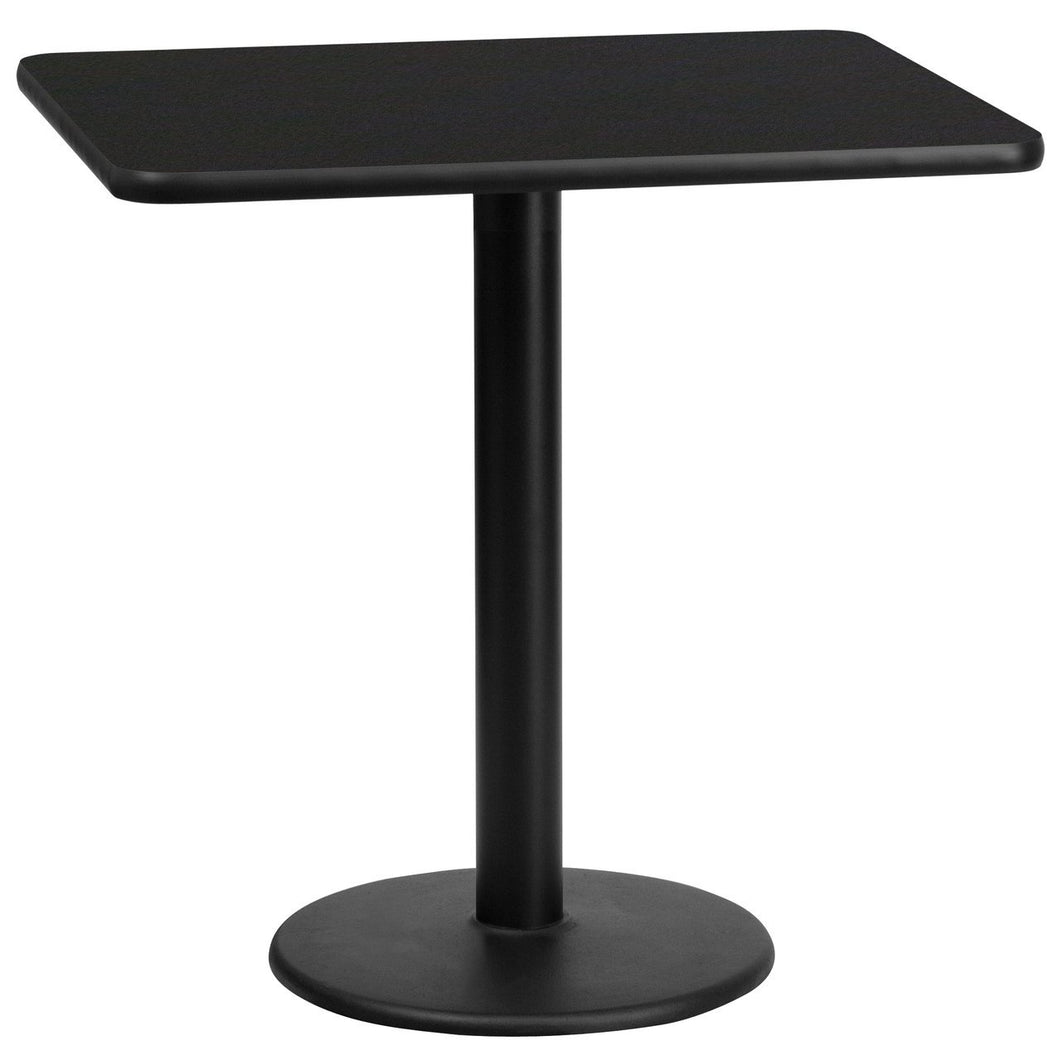 24'' x 30'' Rectangular Black Laminate Table Top with 18'' Round Table Height Base