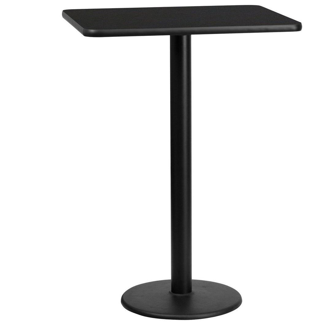 24'' x 30'' Rectangular Black Laminate Table Top with 18'' Round Bar Height Table Base