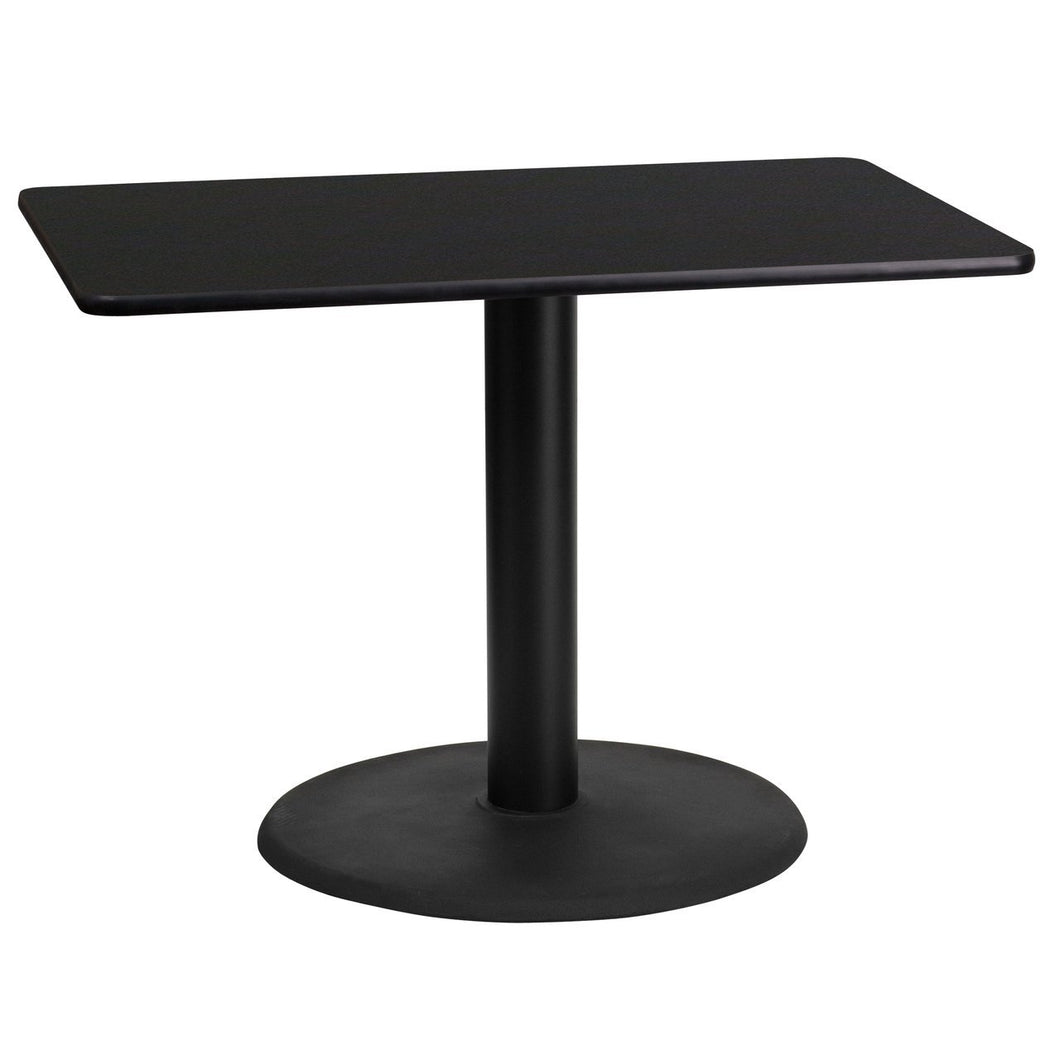 24'' x 42'' Rectangular Black Laminate Table Top with 24'' Round Table Height Base