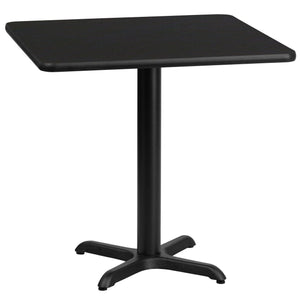 30'' Square Black Laminate Table Top with 22'' x 22'' Table Height Base