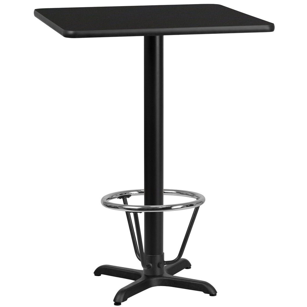 30'' Square Black Laminate Table Top with 22'' x 22'' Bar Height Table Base and Foot Ring