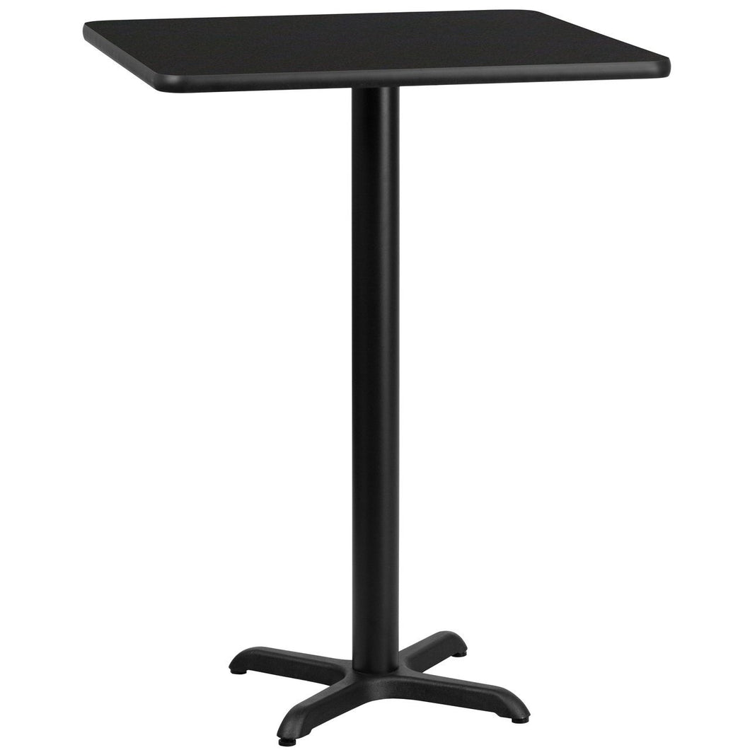 30'' Square Black Laminate Table Top with 22'' x 22'' Bar Height Table Base
