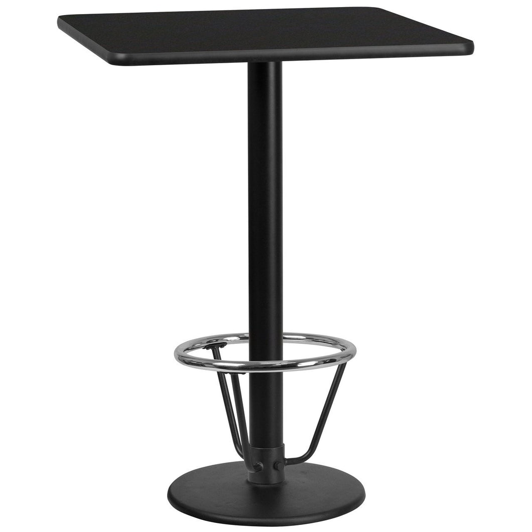 30'' Square Black Laminate Table Top with 18'' Round Bar Height Table Base and Foot Ring