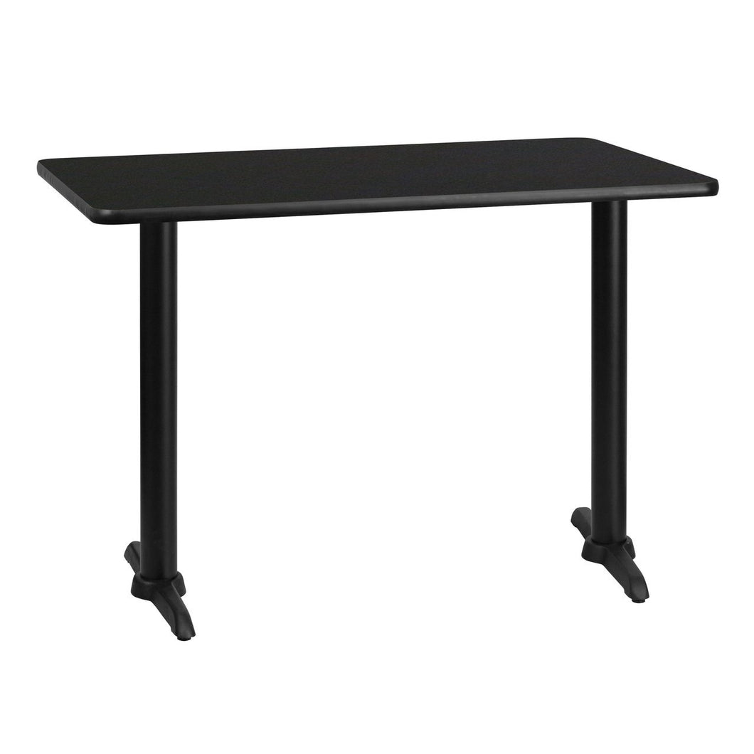 30'' x 42'' Rectangular Black Laminate Table Top with 5'' x 22'' Table Height Bases